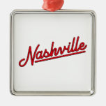 Nashville in Red Square Metal Christmas Ornament