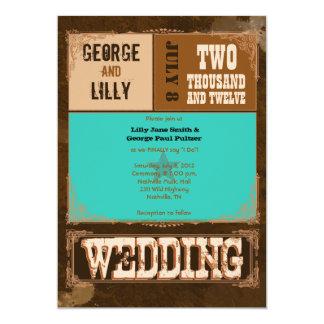 Nashville Invite:  Turquoise 5x7 Paper Invitation Card