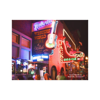 Nashville Lower Broadway Wrapped Canvas Prints