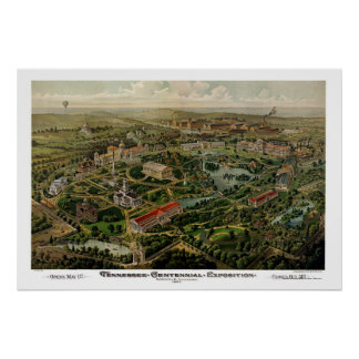 Nashville, mapa panorámico del TN - 1897 Póster