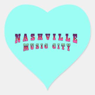 Nashville Music City2 Heart Sticker