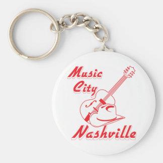 Nashville. Music city Basic Round Button Keychain