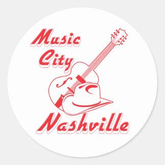 Nashville. Music city Classic Round Sticker