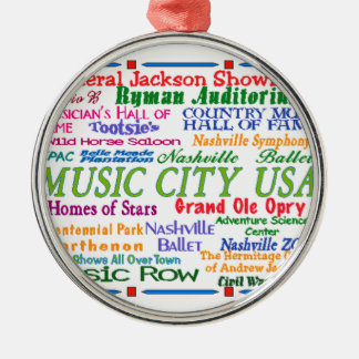 Nashville Music City Round Metal Christmas Ornament