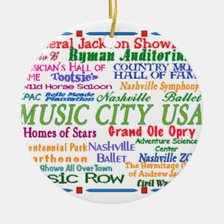 Nashville Music City Double-Sided Ceramic Round Christmas Ornament