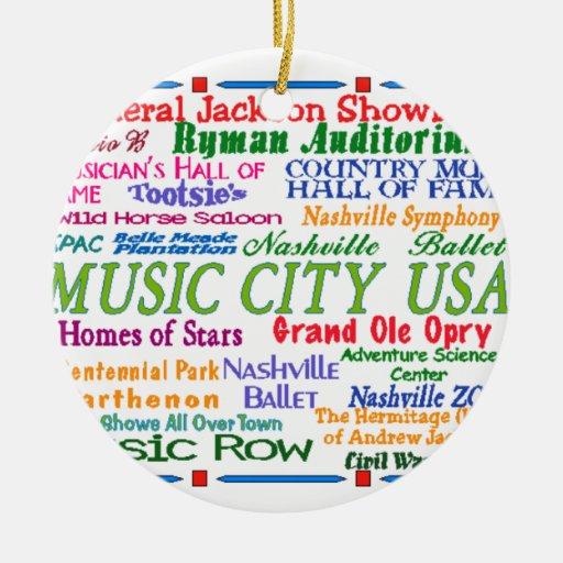 Nashville Music City Christmas Ornaments
