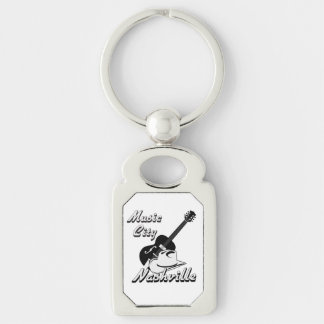 Nashville. Music city Silver-Colored Rectangular Metal Keychain