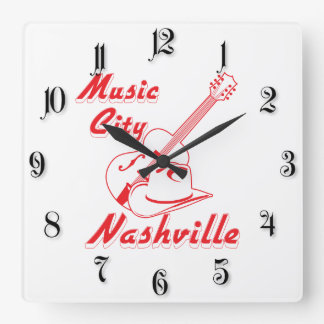 Nashville. Music city Square Wall Clock