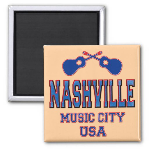 Nashville, Music City USA 2 Inch Square Magnet