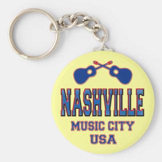 Nashville, Music City USA Basic Round Button Keychain