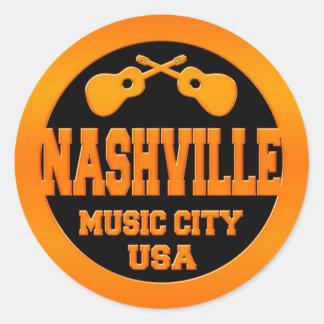 Nashville Music City USA Classic Round Sticker