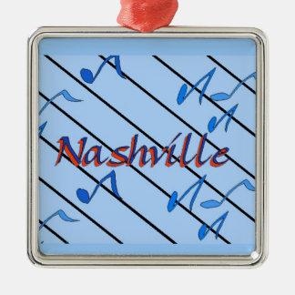 Nashville Notes Blue Square Metal Christmas Ornament