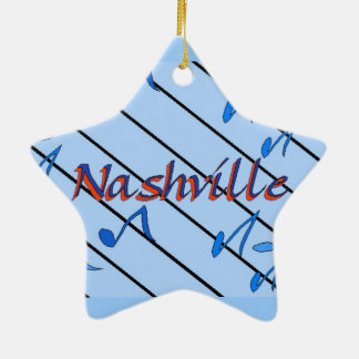 Nashville Notes Blue Double-Sided Star Ceramic Christmas Ornament
