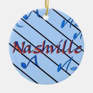 Nashville Notes Blue Double-Sided Ceramic Round Christmas Ornament