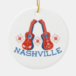 Nashville Double-Sided Ceramic Round Christmas Ornament
