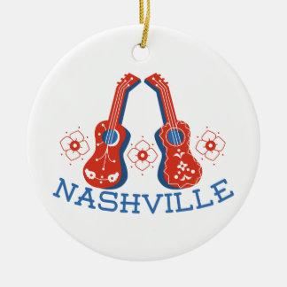 Nashville Double-Sided Ceramic Round Christmas Ornament