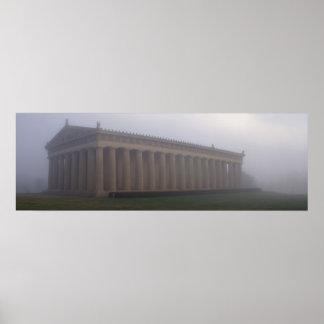 Nashville Parthenon in Morning Fog Poster