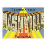 nashville, post, card, blue, guitar, music, city