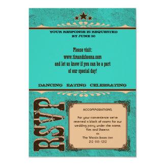 Nashville Response Card:  Turquoise _NOLINES 4.5x6.25 Paper Invitation Card