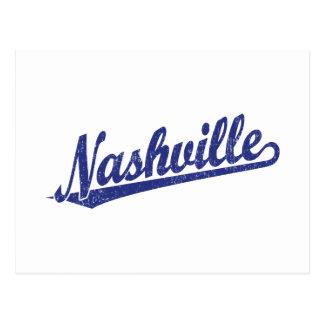 Nashville script logo in blue distressed postcard