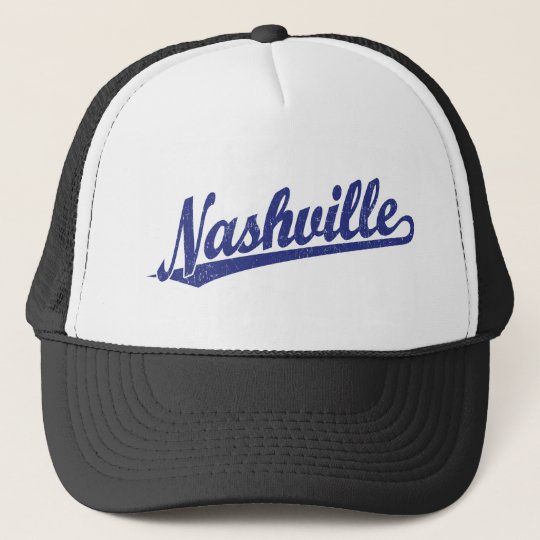 Nashville script logo in blue distressed trucker hat