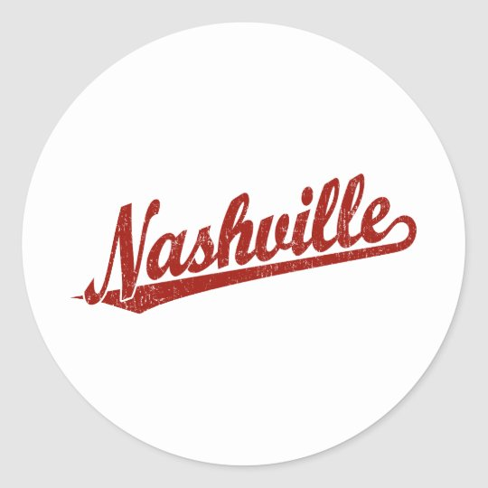 Nashville script logo in red distressed classic round sticker