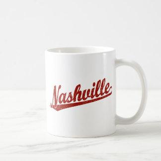 Nashville script logo in red distressed coffee mug