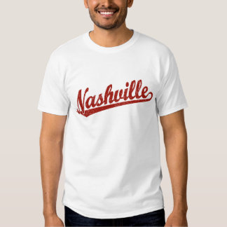 Nashville script logo in red distressed T-Shirt