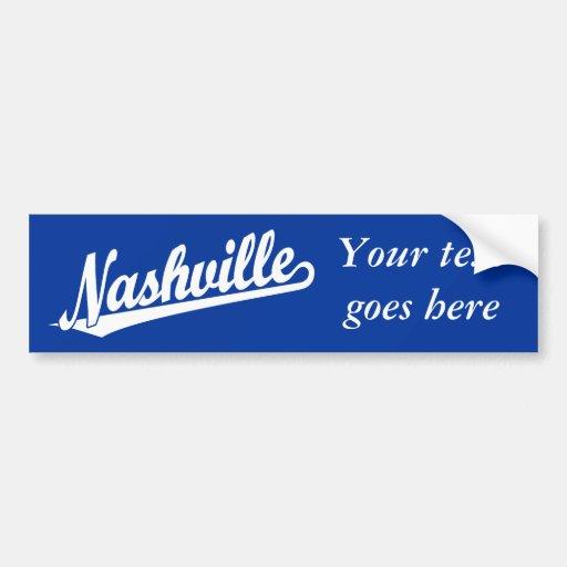 Nashville script logo in white bumper stickers