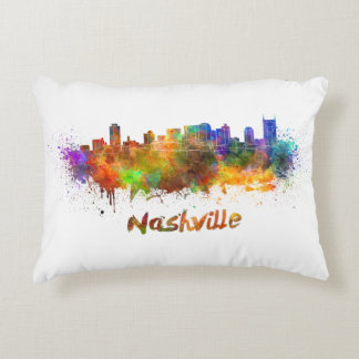Nashville skyline in watercolor decorative pillow