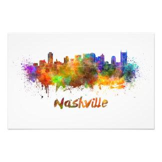 Nashville skyline in watercolor cojinete