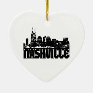 Nashville Skyline Double-Sided Heart Ceramic Christmas Ornament