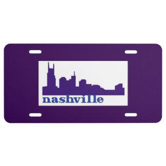 Nashville Skyline Purple License Plate