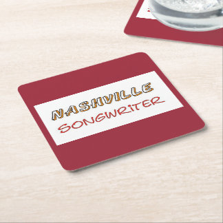 Nashville Songwriter Square Paper Coaster