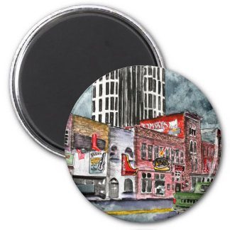 nashville tennessee country music capital art 2 inch round magnet