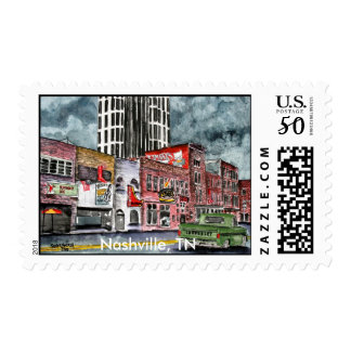 nashville tennessee country music capital art postage