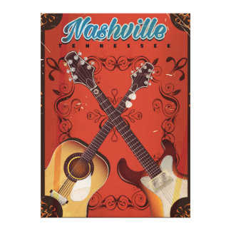 Nashville, Tennessee Guitar vintage travel poster Canvas Print