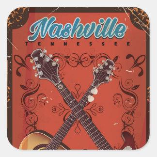 Nashville, Tennessee Guitar vintage travel poster Square Sticker