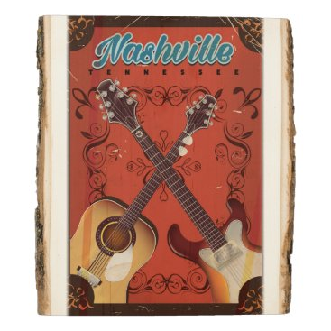 USA Themed Nashville, Tennessee Guitar vintage travel poster Wood Panel