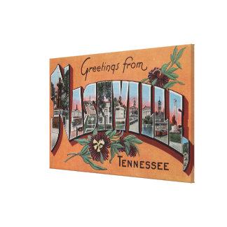 Nashville, Tennessee - Large Letter Scenes Canvas Print