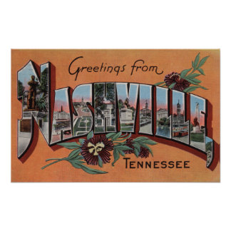 Nashville, Tennessee - Large Letter Scenes Poster