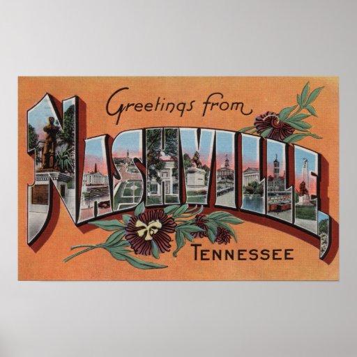 Nashville, Tennessee - Large Letter Scenes Posters