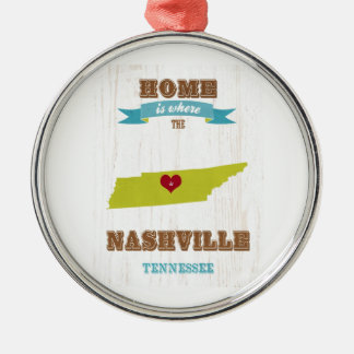 Nashville-Tennessee Map – Home Is Where The Heart Metal Ornament