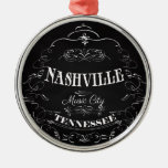 Nashville, Tennessee - Music City Round Metal Christmas Ornament