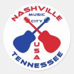 Nashville, Tennessee Music City USA Classic Round Sticker