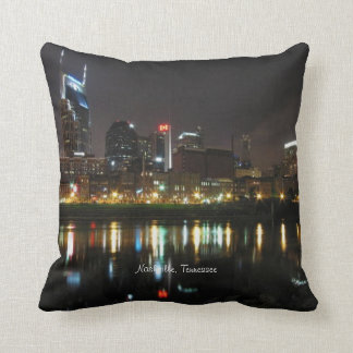 Nashville, Tennessee Skyline at Night Throw Pillows
