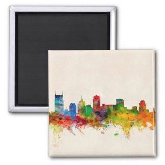 Nashville Tennessee Skyline Cityscape 2 Inch Square Magnet