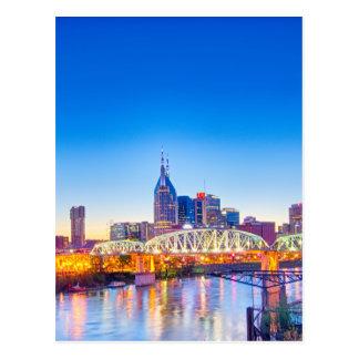 nashville tennessee skyline during blue hour postcard