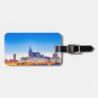 nashville tennessee skyline during blue hour tag for luggage