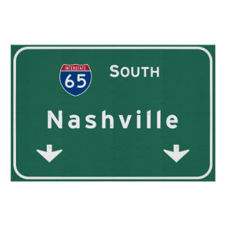 Nashville Tennessee tn Interstate Highway Freeway Poster